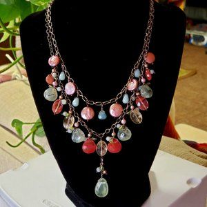 Vintage Glass & Stone Victorian Style Necklace